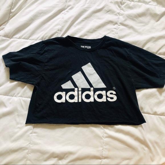 Black White Adidas Logo Crop Top T Shirt